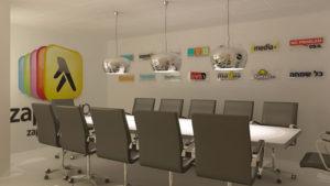 """חדר ישיבות זאפ גרופ, תיכנון ועיצוב ע""""י נעמי שחר"""