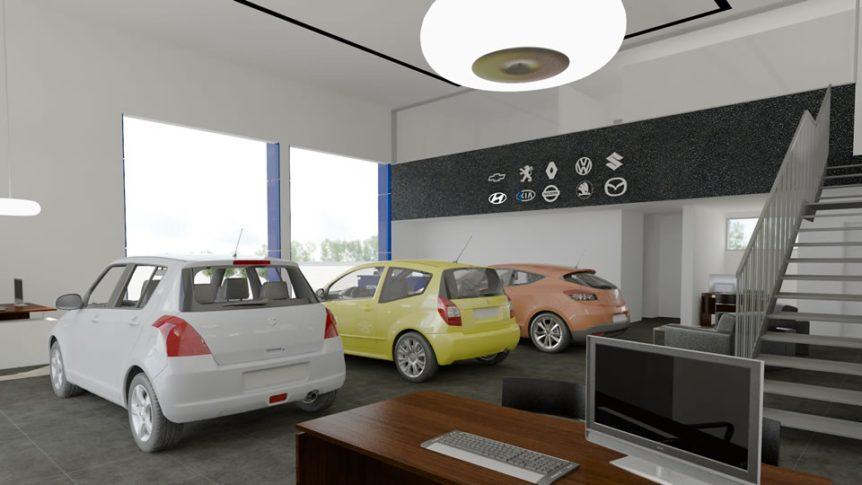 """אולם תצוגה ומכירה, קל אוטו תיכנון ועיצוב ע""""י נעמי שחר"""
