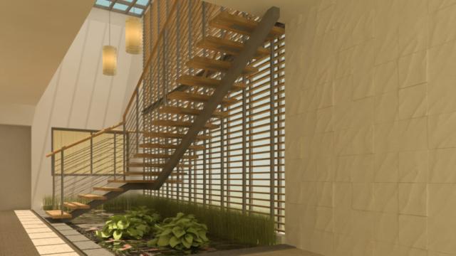 חלל מדרגות בבית פרטי דו קומתי