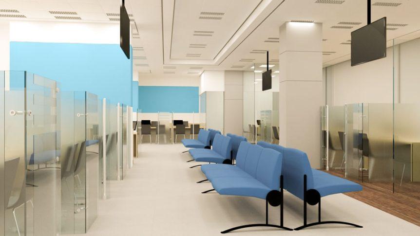 """חלל מרכזי בנק לאומי, תכנון ועיצוב ע""""י עיצוב נעמי שחר"""