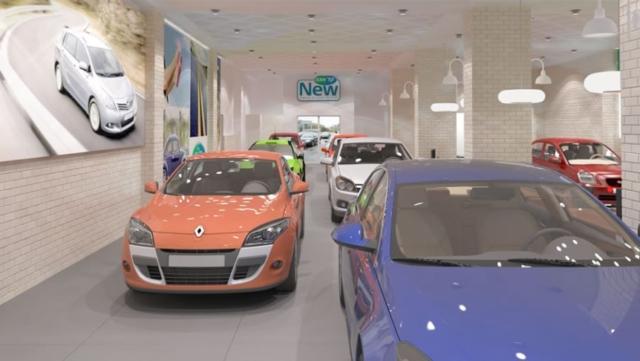 """אולם תצוגה ומכירה, קל אוטו, תיכנון ועיצוב ע""""י נעמי שחר"""