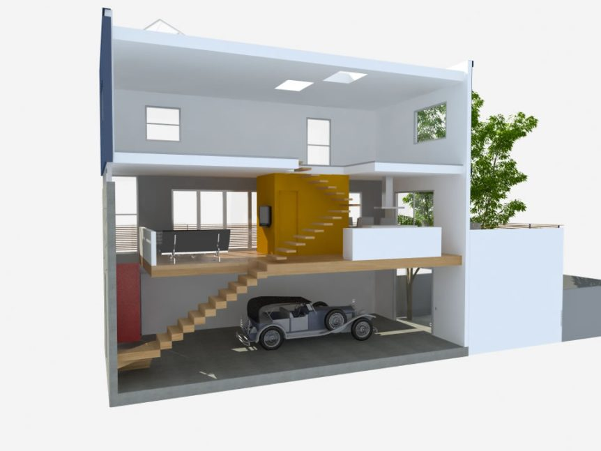 מבנה משולב קונטיינרים ובטון, תכנון ועיצוב ניר ארכ