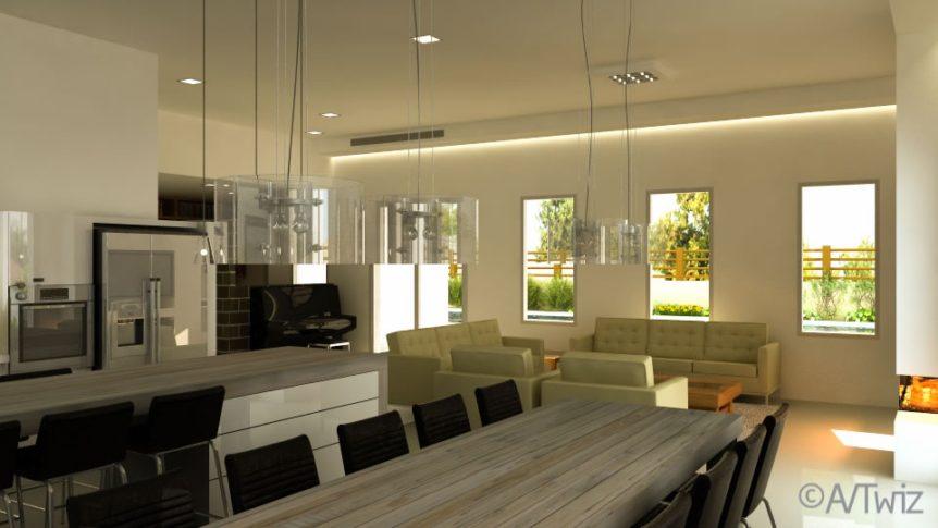 """חלל מגורים, תיכנון ועיצוב ע""""י זהבה טימסית"""